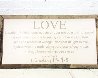 Love is patient love is kind Wall Art Wood Sign Barn Wood Frame, 1 Corinthians 13 sign, Rustic Wedding Sign, Faith Hope Love