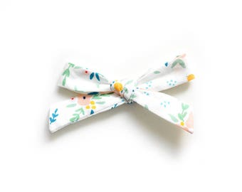 Floral Hand Tied Bow - Baby Headband - School Girl Bow