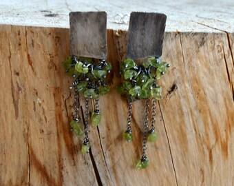 Silver Peridot Earrings - Dangle Post Earrings - Dangle Olivine Earrings - Sterling Silver Post Earrings - Chain Earrings