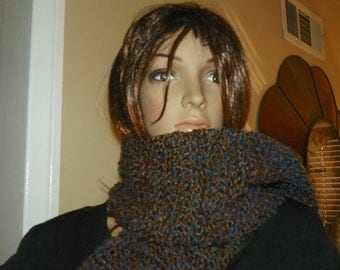 Brown and Blue Scarf   Very Soft and Thick Scarf   Neck Warmer Ready to Ship