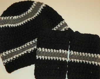 Oakland Raiders Beanie Hat Set with Fingerless Gloves Teen-Adult