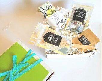 Spa Gift Set with Bath Salts, Milk Bath, Sugar Scrub Soap and Face Mask
