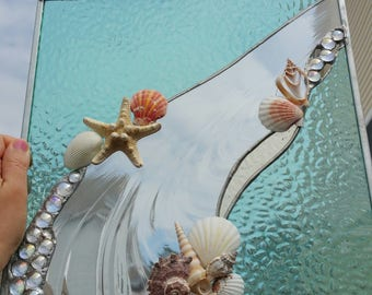 Stained Glass Panel with Shells