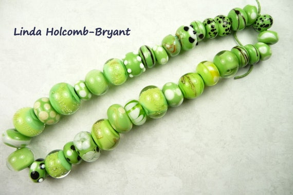 Lampwork Glass Bead Set of Mixed Multicolored Green Beads- set of 35