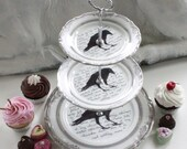 Gold or Silver Poe Raven Cake Stand, 2 or 3-Tiered, Raven Cupcake Stand, Crow China, Poe Plates, Foodsafe and Durable, Raven Crow Dishes