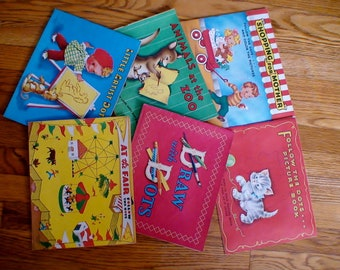 1950s Dot to Dot Collectible Daisy Mager Book Set, Delightful Graphics, Original Box