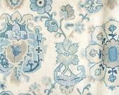 Designer Pillow Cover  - JRDM Floral Motif Linen Aqua