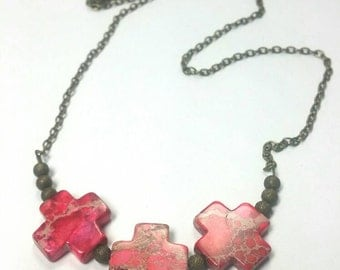 Red Rock Necklace - Antiqued Brass Necklace