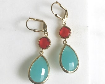 Turquoise and Red Dangle Earrings. Bridesmaids Earrings.  Turquoise Jewelry. Wedding Jewelry. Summer Dangle Earrings. Gift.