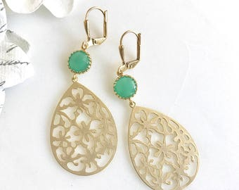 Green and Gold Chandelier Earrings.  Dangle Earrings.  Statement Earrings. Jewelry Gift. Modern Fashion Drop Earrings. Chandelier Earrings