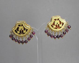 Vintage Enamel Earrings, Garnet & Vermeil, Statement Earrings, Gilt Sterling, Raj Earrings, Bollywood
