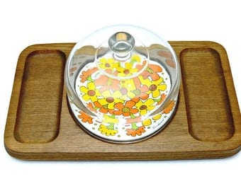 Glass Cloche Dome with Goodwood Cheese & Crackers Tray - Vintage Hors-doeuvres Server - Retro Kitchen