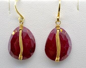 Dana Kellin 14K Yellow Gold Rose Cut Wire Wrap Ruby Dangle Earrings