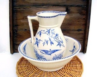 Antique Pitcher and Bowl Yeddo Chinoiserie Blue & White Washbasin Pitcher Shabby Chic Cottage Rare Large Vintage Staffordshire Crane Bamboo