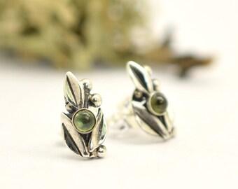 Sterling silver small peridot earrings- leaf  studs - peridot post earrings - organic nature earrings - small earrings  botanical jewelry