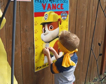 Pin the Badge on Rubble - Paw Patrol Birthday Printable Game - Personalized