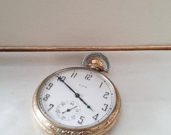 Elgin Vintage open face pocket watch 17j Supreme  IWC Co 28168749 running Lovely