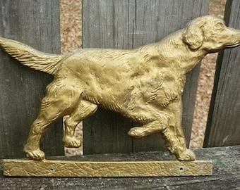Vintage Setter gold Metal Plaque-Vintage Dog cast metal Plaque