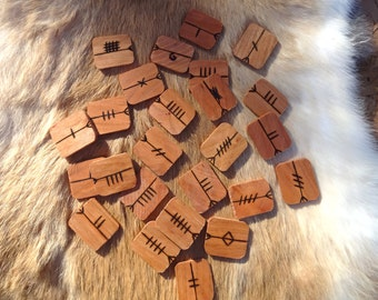 Cherry Ogham set - Celtic - Druid - FREE DOMESTIC SHIPPING
