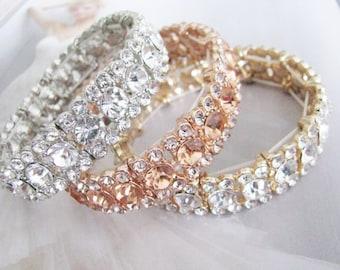Wedding Bracelet, Gold Tone, Silver Tone, Rhinestone Bracelet, Bridal Bracelet, Bracelet, Rose Gold, Rhinestone Jewelry, Bridal Jewelry