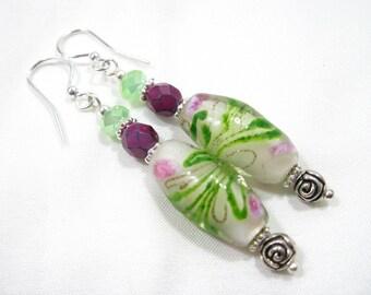 Floral Lampwork & Czech Glass, Tibetan Silver Rose Earrings