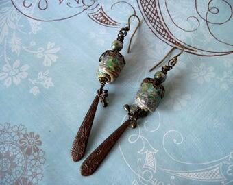 Handmade Pottery, Vintaj, Czech Glass & Antiqued Brass Earrings