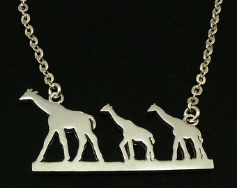 Silver Giraffe Mother and Child Necklace - Giraffe Jewelry - Mother and Child Necklace - Gift for Mother Day - Gift for Mom Mama Mummy