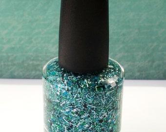 Sailor Teal -Non Toxic, BIG 5 FREE, Custom Blended Glitter Nail Polish. Full Size 15 ml Bottle. Premium Quality. Vegan