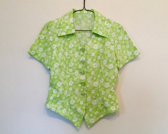lime green 1990s daisy print button up blouse M