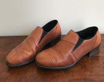 vintage caramel brown Rieker seamed leather heeled loafers US 7.5 / UK 5.5 / EUR 38