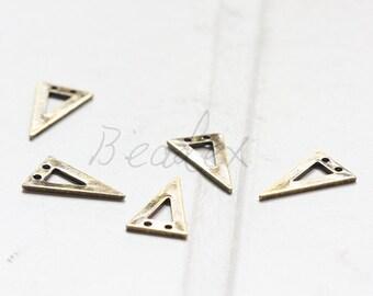 4 Pieces / Antique Brass / Brass Base / Geometry / Triangle / Arrow / Charm (C3073//A552)
