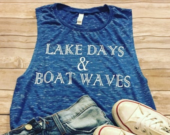 Free Shipping - Lake Day & Boat Waves - summer tank - workout tank - lake - muscle tank