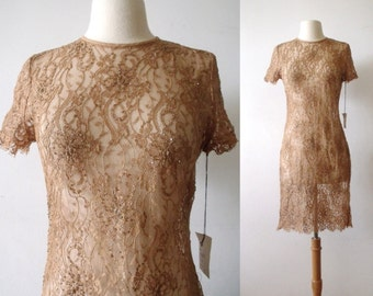 La VIENNE Lace Sheer Party Dress ~ Evening Mocha Cocktail Beaded Dress ~ Size 6