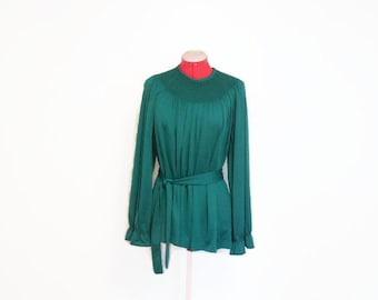 Lush Green Holiday Blouse, Vintage Smocked Nylon Knit Blouse, Tunic Length Yoke Blouse, Belted Smocked Yoke Top, Shimmering Green Blouse