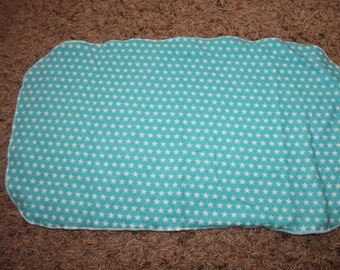 Teal Blue with White Stars Burp Cloth with Minky
