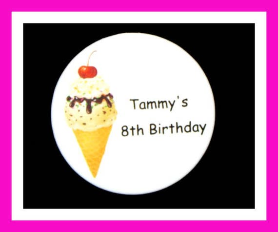 Birthday Party Favors, Personalized Button,Ice Cream Pin Favor,School Favors,Kids Party Favors,Boy Birthday,Girl Birthday,Pins, Set of 10