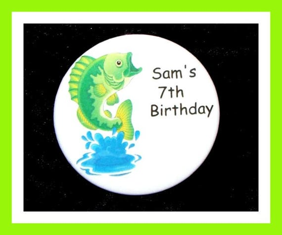 Birthday Party Favors, Personalized Button,Fish Pin Favor,School Favors,Kids Party Favor,Boy Birthday,Girl Birthday,Pins, Set of 10