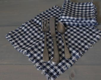 Linen Cloth Lunch Napkins, Gingham Linen Napkins, Picnic Napkins, Rustic Linen Napkins, Eco-Friendly Reusable Napkins, Set Four, Navy White
