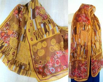 Gustav Klimt Silk Scarf National Art Museum Museum Gift Item Made in Italy