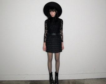 BLACK Check MINI SKIRT High Rise Waist 90s Grid Womens Size 28/29