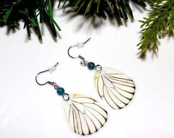 Real Butterfly Earrings, White Butterfly, Nature Earrings