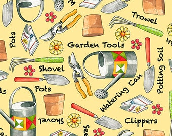Who Let the Hogs Out, Garden Tools, Quilting Treasures Fabric