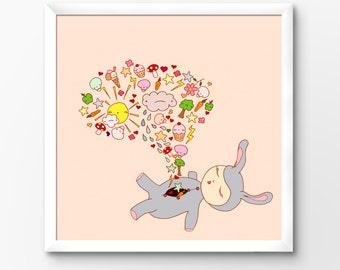 Nursery Art Printable, Kawaii Bunny Rabbit and friends, Instant Download Illustration by Sleepy Cloud Studios