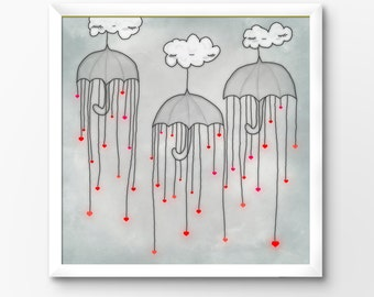 Valentines Printable, Hearts in the Rain Art Print, 10x10 Instant Download Illustration by Sleepy Cloud Studios