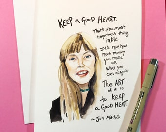 Joni Mitchell Portrait, Inspiring Quote 5x7 card, Ready to Ship