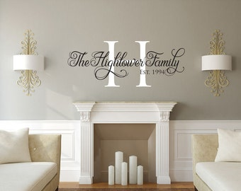 Family wall decal Monogram family name vinyl wall decal sticker