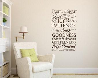 Fruit of the spirit Galatians 5:22 Bible verse scripture vinyl wall decal sticker