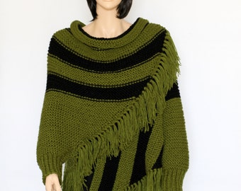 Knitted Poncho Black Green poncho Women's Pullover Sweater Pink Fringed Shawl Knitted poncho  Shawl