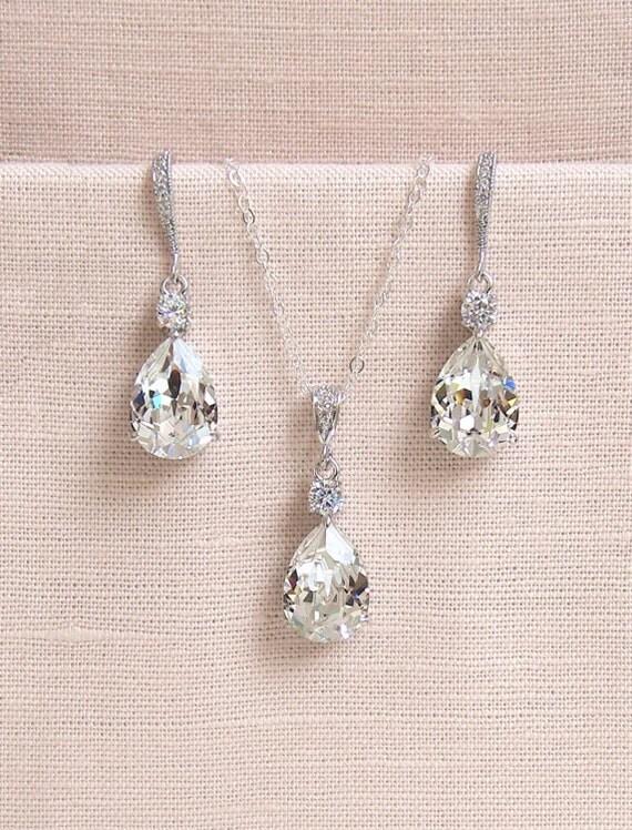 Bridal Jewelry Set, Crystal Pendant Earrings Necklace Jewelry Set , Wedding Jewelry, Bridesmaids Jewelry Set, Crystal Drop Set Lilliana