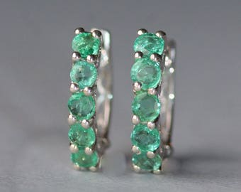 GENUINE Zambian Emerald Hoop Earrings,Emerald Gemstone Small Silver Hoop,Pave,May Birthstone,1.7 Carat,Sterling Silver Hoop,Women,Gift,OOAK